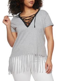 Plus Size Lace Up Top with Fringe Hem - HEATHER-BLK - 1915033878012