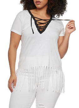 Plus Size Lace Up Top with Fringe Hem - WHITE-BLK - 1915033878012