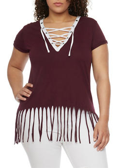 Plus Size Lace Up Top with Fringe Hem - PLUM-WHT - 1915033878012