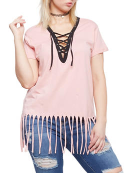 Plus Size Lace Up Top with Fringe Hem - MAUVE-BLK - 1915033878012