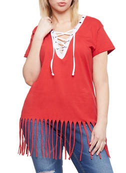 Plus Size Lace Up Top with Fringe Hem - RED-WHITE - 1915033878012