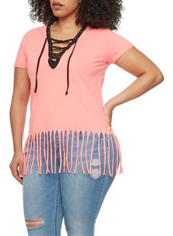 Plus Size Lace Up Top with Fringe Hem - PINK-BLK - 1915033878012