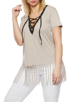Plus Size Lace Up Top with Fringe Hem - MOCHA-BLK - 1915033878012