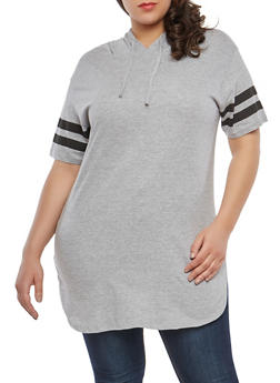Plus Size Varsity Stripe Hooded Tunic Top - 1915033878635