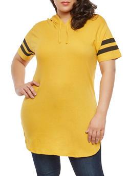 Plus Size Varsity Stripe Hooded Tunic Top - 1915033878635