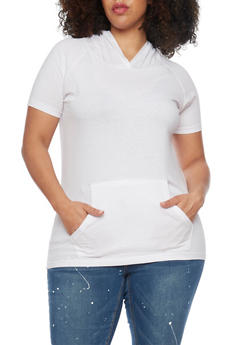 Plus Size Short Sleeve Hooded Top with Front Pouch - WHITE - 1915033878915