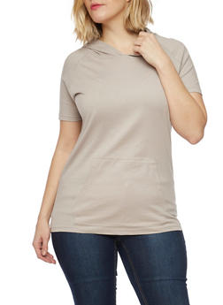 Plus Size Short Sleeve Hooded Top with Front Pouch - 1915033878915