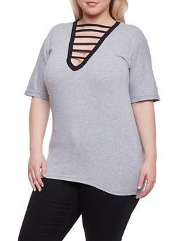Plus Size Caged V Neck Short Sleeve Top - 1915033879795