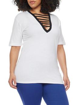 Plus Size Caged V Neck Short Sleeve Top - WHITE - 1915033879795