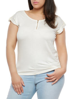 Plus Size Zip Up Neck Top - 1915038342246