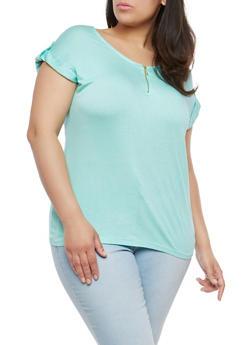 Plus Size Zip Up Neck Top - 1915038342246