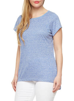 Plus Size High Low Top With Marled Rib Knit,ROYAL,medium