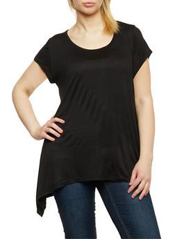 Plus Size Short Sleeve Asymmetrical Tunic Top - 1915038347002