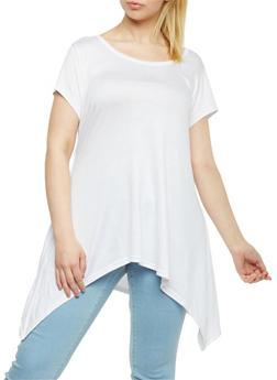 Plus Size Short Sleeve Asymmetrical Tunic Top - WHITE - 1915038347002