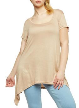 Plus Size Short Sleeve Asymmetrical Tunic Top - 1915038347002