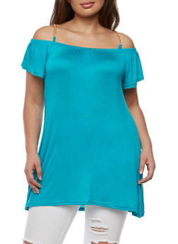 Plus Size Cold Shoulder Top with Chain Link Straps - 1915038347005