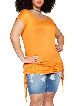 Plus Size Off the Shoulder Tunic Top with Ruched Sides - 1915038347006