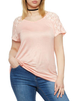 Plus Size Short Sleeve Solid Top with Lace Yolk - 1915038347007