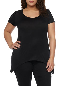 Plus Size Solid Asymmetrical Top with Lace Back - 1915038347008