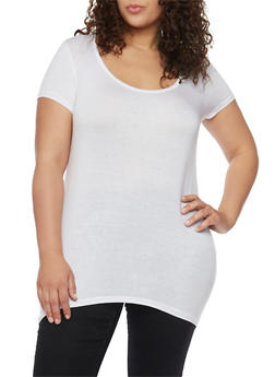 Plus Size Solid Asymmetrical Top with Lace Back - IVORY - 1915038347008