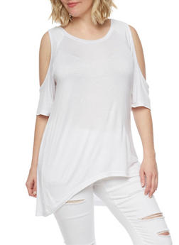 Plus Size Solid High Low Cold Shoulder Top - IVORY - 1915038347009