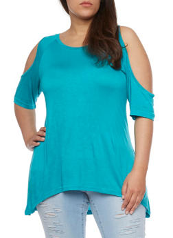 Plus Size Solid High Low Cold Shoulder Top - 1915038347009