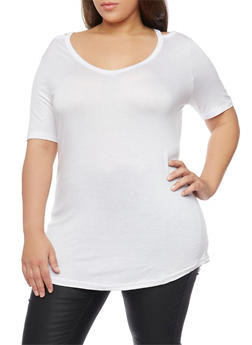Plus Size V Neck Cold Shoulder Top - 1915038347010
