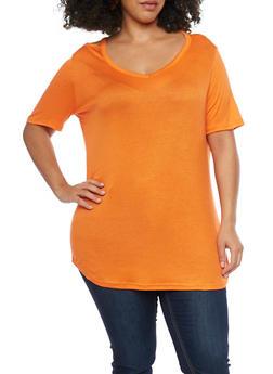 Plus Size V Neck Cold Shoulder Top - 1915038347010