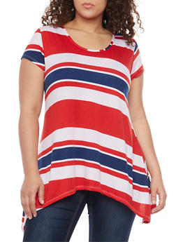 Plus Size Short Sleeve Striped Asymmetrical Top - 1915038347264