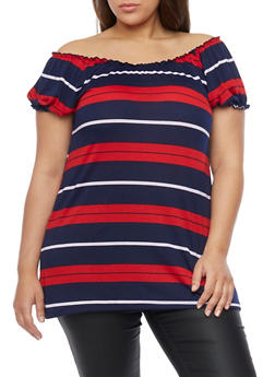 Plus Size Striped Off the Shoulder Top - 1915038347265