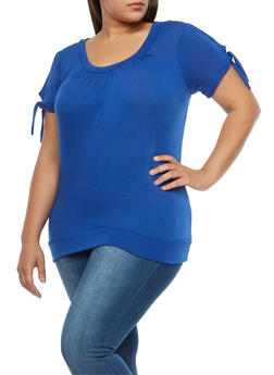 Plus Size Short Tie Sleeve Basic Top - 1915038349148