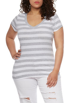 Plus Size Wide Striped V Neck T Shirt - 1915054260001