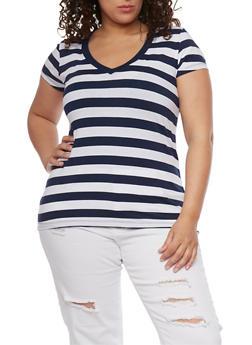 Plus Size Wide Striped V Neck T Shirt - 1915054260001