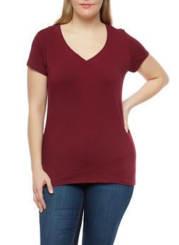 Plus Size Basic V Neck Top - 1915054260050