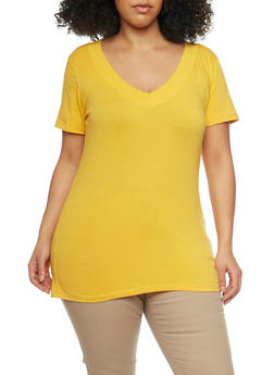 Plus Size Solid Short Sleeve V Neck Tee - MUSTARD  NEW MUSTARD - 1915054260056