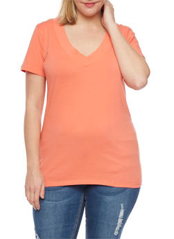 Plus Size Solid Short Sleeve V Neck Tee - 1915054260056