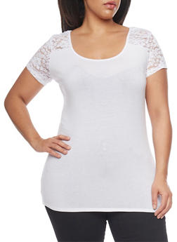 Plus Size Short Sleeve T Shirt with Lace Shoulder Detail - 1915054260097