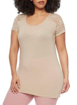 Plus Size Short Sleeve T Shirt with Lace Shoulder Detail - 1915054260097