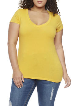 Plus Size Solid Short Sleeve V Neck Top - 1915054260500