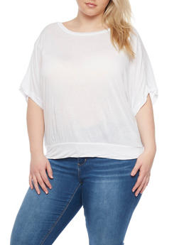 Plus Size Dolman Sleeve Top with Sheer Panel - WHITE - 1915054260622