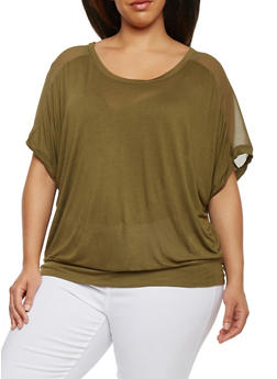 Plus Size Dolman Sleeve Top with Sheer Panel - OLIVE - 1915054260622
