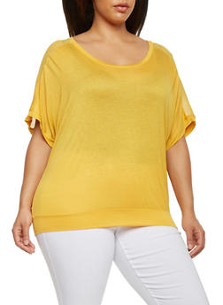 Plus Size Dolman Sleeve Top with Sheer Panel - MUSTARD - 1915054260622