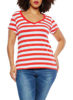 Plus Size Striped T Shirt - 1915054260991