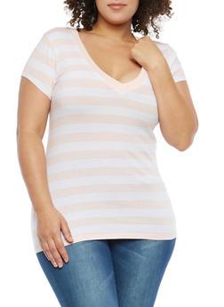 Plus Size Striped T Shirt - 1915054260991