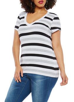 Plus Size Striped T Shirt - 1915054260992