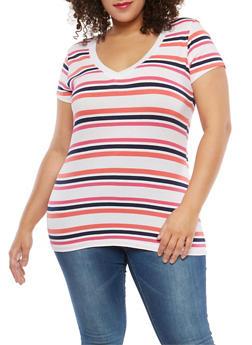Plus Size Striped T Shirt - 1915054260996