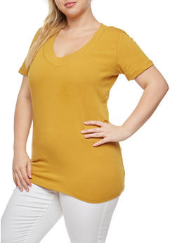 Plus Size Basic V Neck Top - 1915054265056