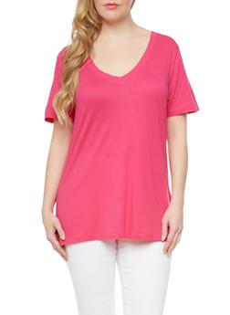 Plus Size Short Sleeve V Neck Top,FUCHSIA,medium