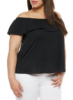 Plus Size Basic Off the Shoulder Top - 1915054265878