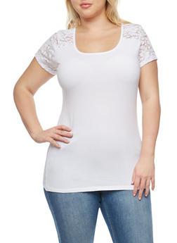 Plus Size Lace Yoke T Shirt - 1915054266299